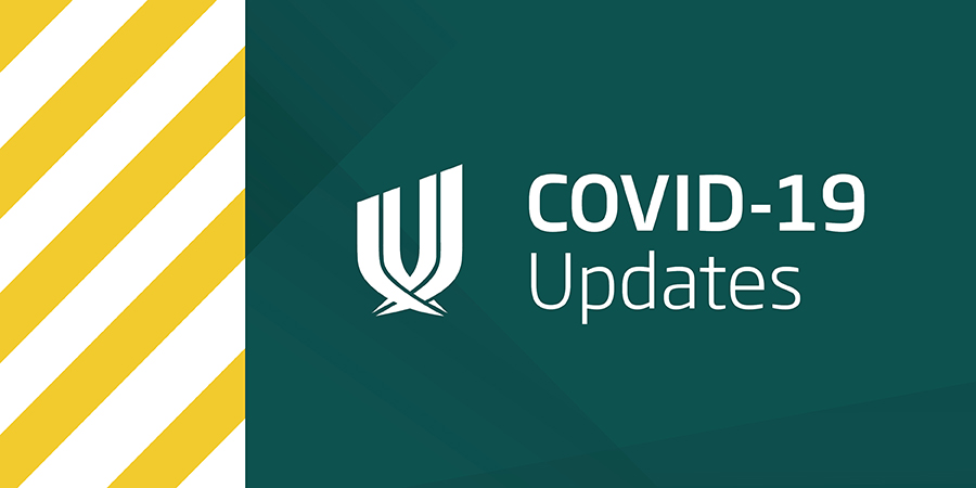 Image is in two halves: On the left is the 'Unite Against COVID-19' with Unite Against COVID-19 yellow and white stripes and on the right is the white Unitec logo with a dark green background