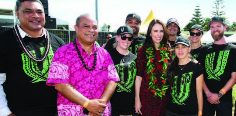 Dr Falaniko Tominiko; Hon Aupito William Sio, Minister for Pacific Peoples; Sarah Sommerville, Anaru Parangi; Rt Hon Jacinda Ardern, Prime Minister of New Zealand; Blair Sorensen; Renee Peeni; Debbie Loots; Paul Hays