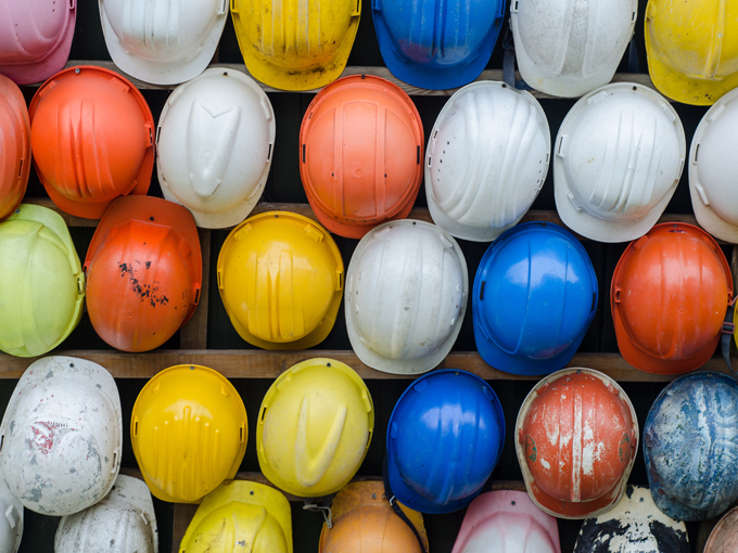 Colourful Construction hats