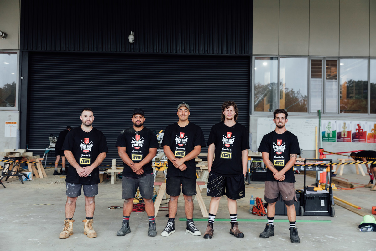 From left to right: Unitec participants Cole Moore, Roderick Jeremia, Mitchell Armstrong, Harrison Forbes, Jack Morris. All standing in Unitec Mataaho building